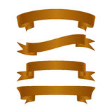 Set of beautiful festive gold ribbons. Vector illustration Stock Image