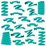Set of beautiful festive green ribbons Royalty Free Stock Image