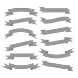 Set of beautiful festive grey ribbons. Vector illustration Royalty Free Stock Images