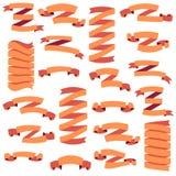 Set of beautiful festive orange ribbons, isolated on white background, vector illustration Stock Photo