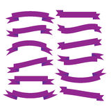 Set of beautiful festive purple ribbons. Vector illustration. Set of beautiful festive purple ribbons. Elements for your design vector illustration Royalty Free Stock Photos