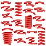 Set of beautiful festive red ribbons Stock Image