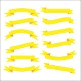 Set of beautiful festive yellow ribbons. Vector illustration. Set of beautiful festive yellow ribbons. Elements for your design vector illustration Stock Photo