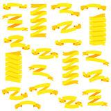 Set of beautiful festive yellow ribbons,  on white background, vector illustration. Ready for Your Text or Design. Set of design elements banners ribbons Royalty Free Stock Photos