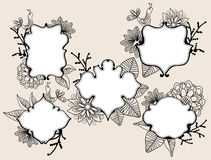 Set of beautiful five labels. Set of beautiful labels with floral elements and bird Royalty Free Stock Photo