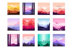Set of beautiful flat cartoon landscapes with mountains, hills and forest. Natural theme. Vector collection of nature. Set of beautiful flat cartoon landscapes stock illustration