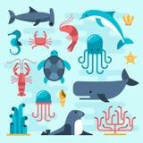Set of beautiful flat sea life Stock Photos