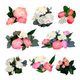 Set of Beautiful Floral Bouquets Stock Photos