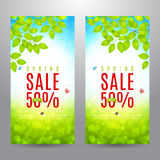Set of beautiful flyers for spring sale Royalty Free Stock Photography
