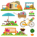 Set of beautiful garden scene with flowers, bike, garden furnitu Stock Image