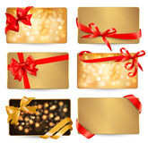 Set of beautiful gif cards with red gift bows vector illustration