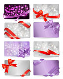 Set of beautiful gif cards with red gift bows Stock Photo