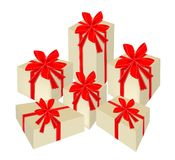 Set of Beautiful Gift Boxes with Red Ribbon Stock Photography