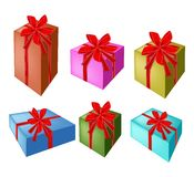 A Set of Beautiful Gift Boxes with Red Ribbon Stock Images