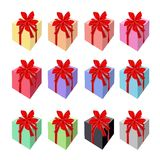 Set of Beautiful Gift Boxes with Red Ribbon Royalty Free Stock Images