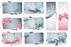 Set of beautiful Gift cards with color gift bows Stock Image