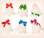 Set of beautiful gift cards with gift bows with ri Royalty Free Stock Images