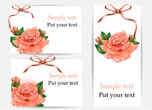 Set of beautiful gift cards with pastel roses and  Royalty Free Stock Image