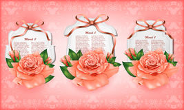 Set of beautiful gift cards with pastel roses and  Royalty Free Stock Photography