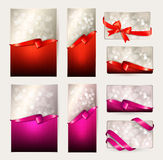 Set of beautiful Gift cards with red and bows Stock Photos