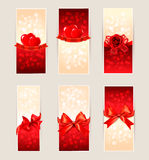 Set of beautiful gift cards with red gift bows Royalty Free Stock Image