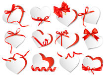 Set of beautiful gift cards with red gift bows and hearts. Stock Photography