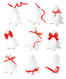 Set of beautiful gift cards with red gift bows Royalty Free Stock Photography