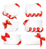 Set of beautiful gift cards with red gift bows wit Stock Image