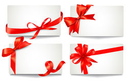 Set of beautiful gift cards with red gift bows wit Stock Photo