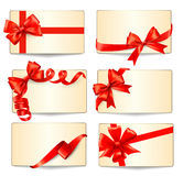 Set of beautiful gift cards with red gift bows wit Stock Photography