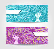 Set Beautiful Girl with long curly hair in cyan lilac Royalty Free Stock Image