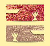 Set Beautiful Girl with long curly hair in red beige Royalty Free Stock Images