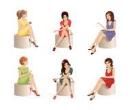 Set of beautiful girls Royalty Free Stock Image