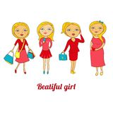 Set of beautiful girls in different roles Royalty Free Stock Photography