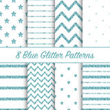 Set of beautiful glitter patterns for different festive designs Stock Photo