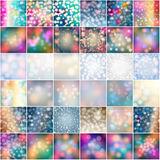 Set of 36 beautiful glittering winter backgrounds. Vector set of 36 winter glittering bokeh lights, soft focus background llustrations Stock Photography