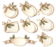 Set of beautiful golden Christmas gift cards with  Stock Images