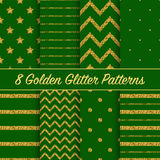 Set of beautiful golden glitter patterns for different festive designs Stock Photography