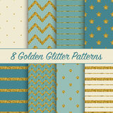 Set of beautiful golden glitter patterns for different festive designs Stock Photo