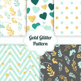 Set of beautiful golden glitter seamless patterns for different festive designs. Vector illustration Stock Photography