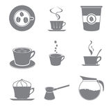 Set beautiful gray icon coffee theme Stock Photo