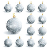 Set of beautiful grey christmas balls Stock Photo