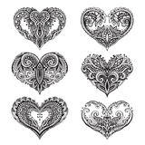 Set of beautiful hand drawn  hearts in zentangle style Stock Image