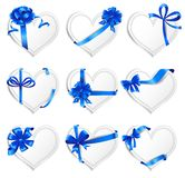 Set of beautiful heart-shaped cards with blue gift Royalty Free Stock Image