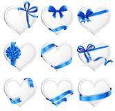 Set of beautiful heart-shaped cards with blue gift Royalty Free Stock Photo