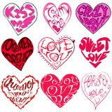 Set of beautiful heart stickers. With romantic text isolated in white stock illustration