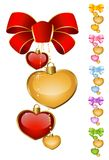 Set of beautiful hearts with bow Royalty Free Stock Photos