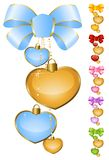 Set of beautiful hearts with bow Royalty Free Stock Photo