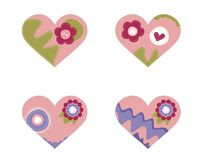Set of 4 beautiful hearts. 4 beautiful hearts with flowers Stock Images