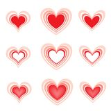 Set of the beautiful hearts2 Stock Photography